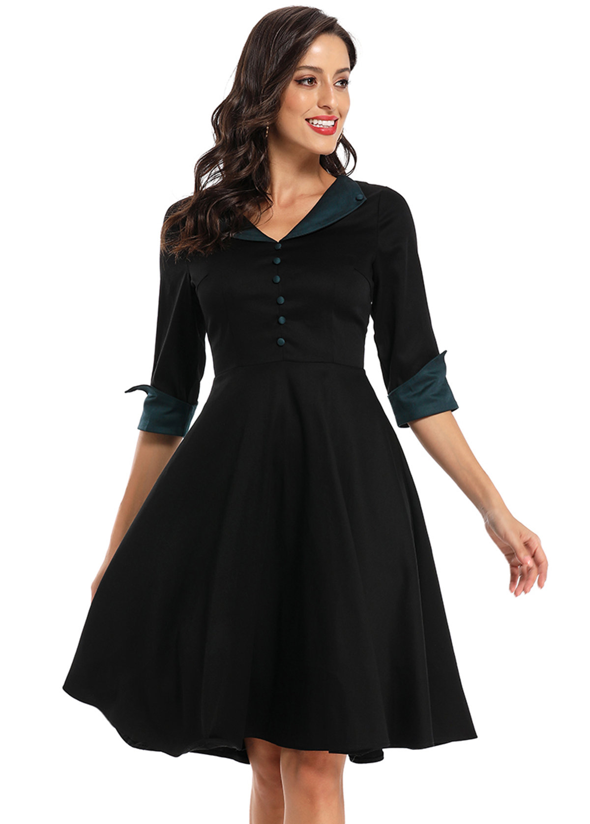 Button Detail Three Quarter Sleeve Contrast Dress
