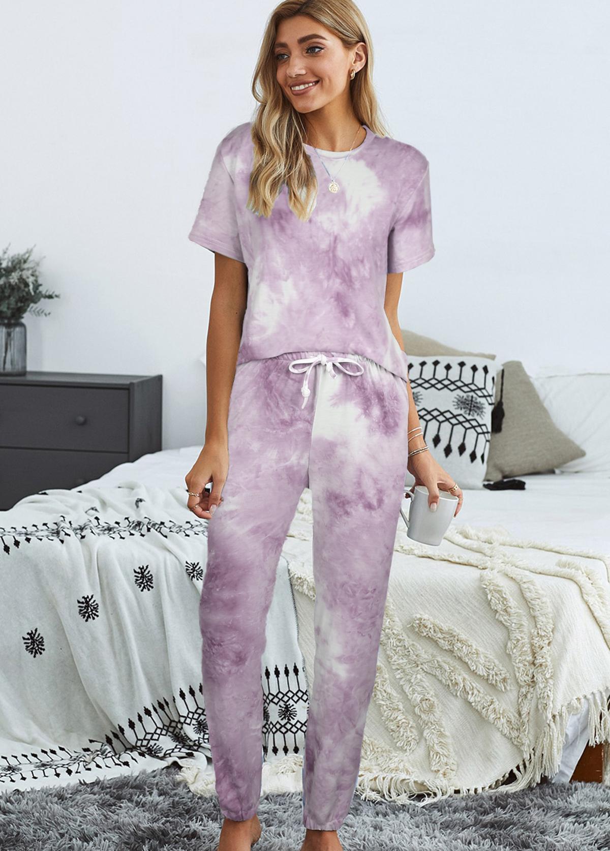 Tie Dye Print Drawstring Waist Loungewear Set