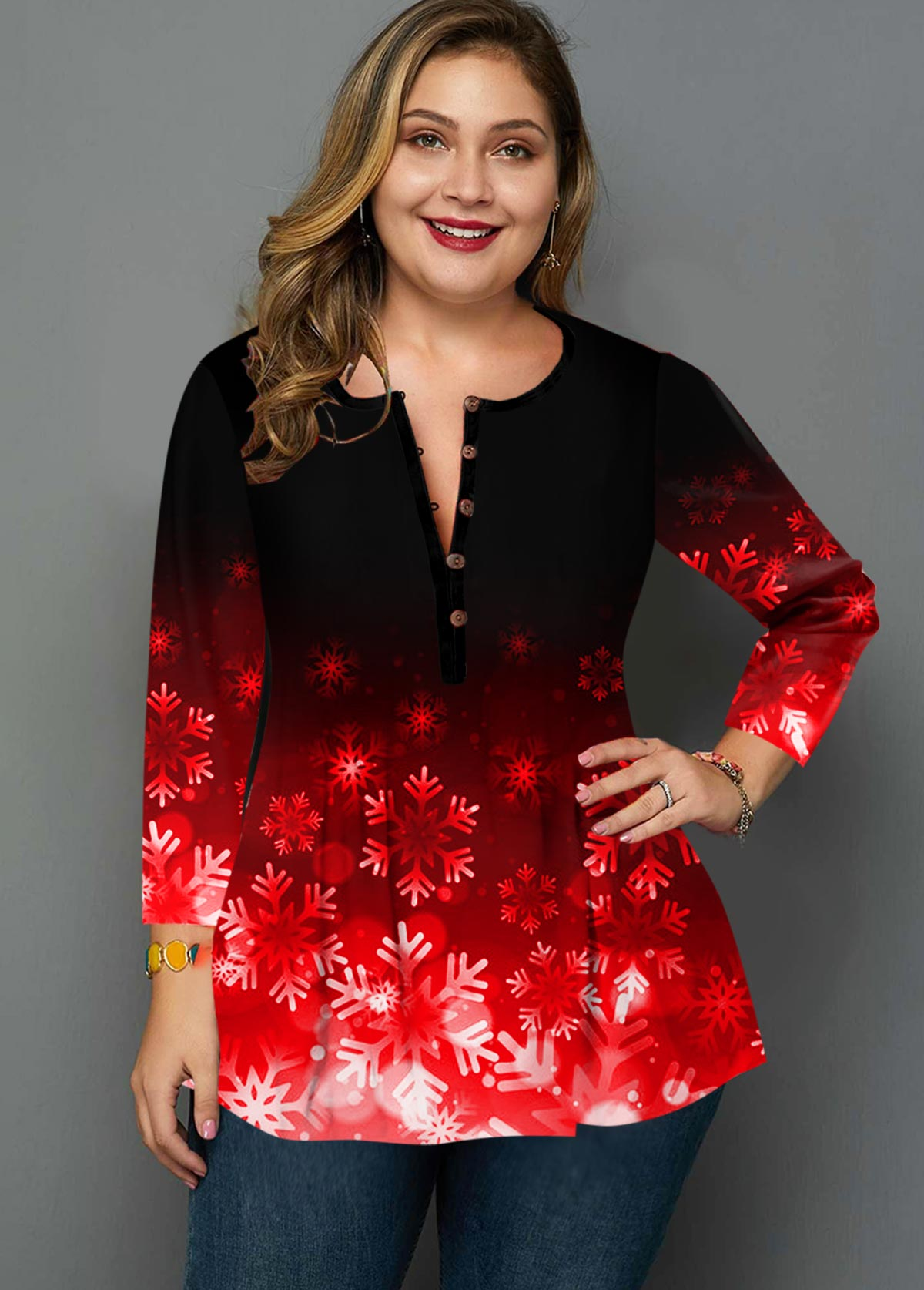 ROTITA Plus Size Button Detail Snowflake Print Blouse