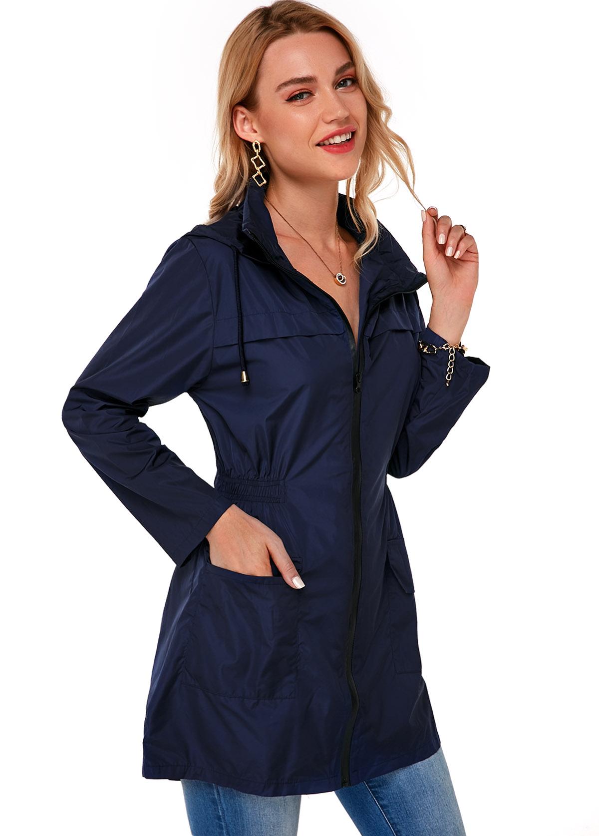 Hooded Collar Waterproof Zipper Closure Jacket
