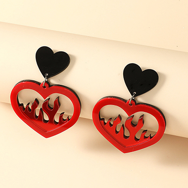 Heart and Flame Design Earring Set