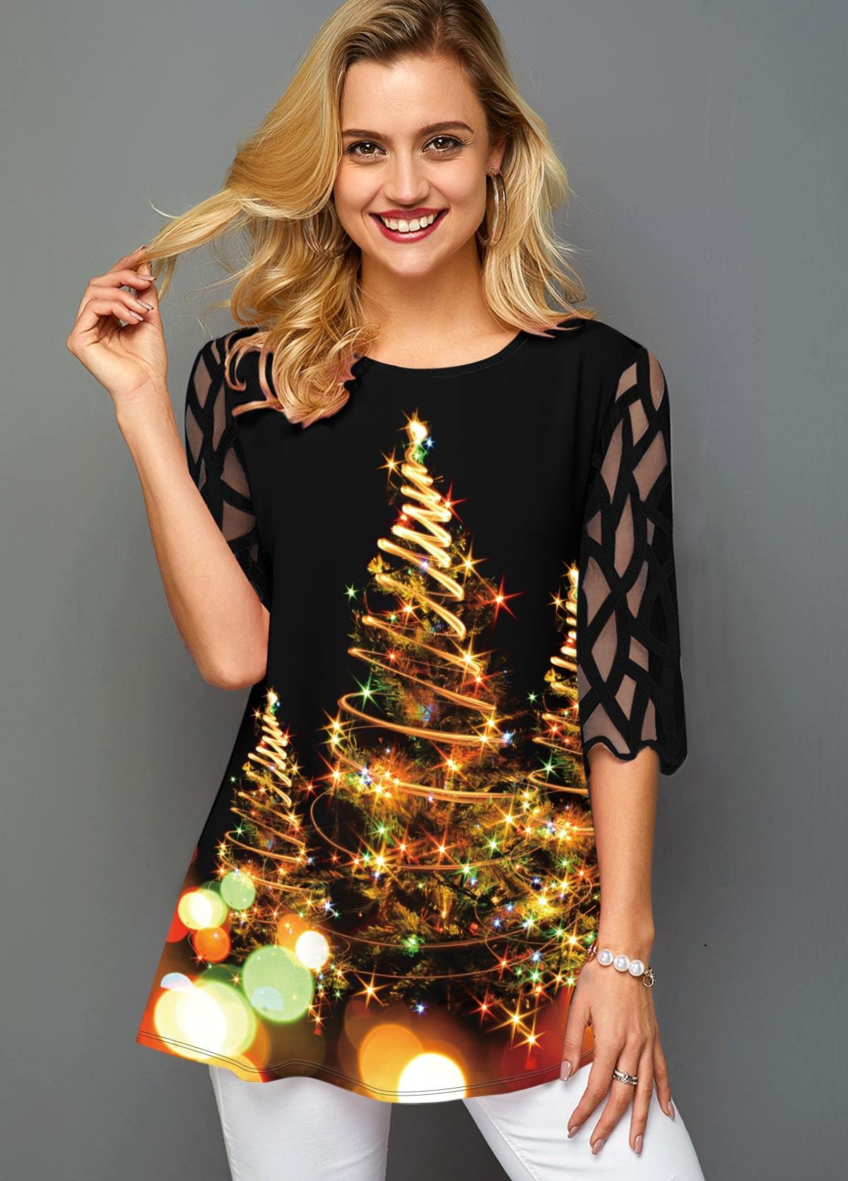 ROTITA Christmas Tree Print Mesh Sleeve T Shirt
