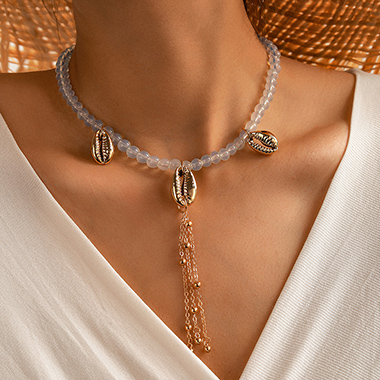 Pearl Detail Chain Tassel Seashell Design Necklace