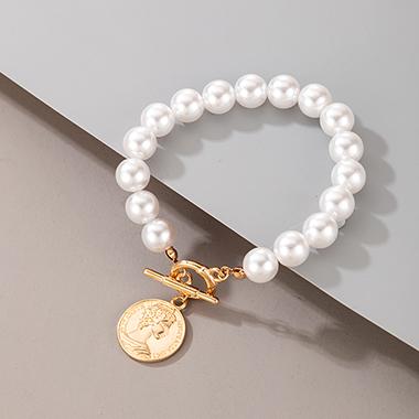Pearl Detail Metal Coin Design Bracelet