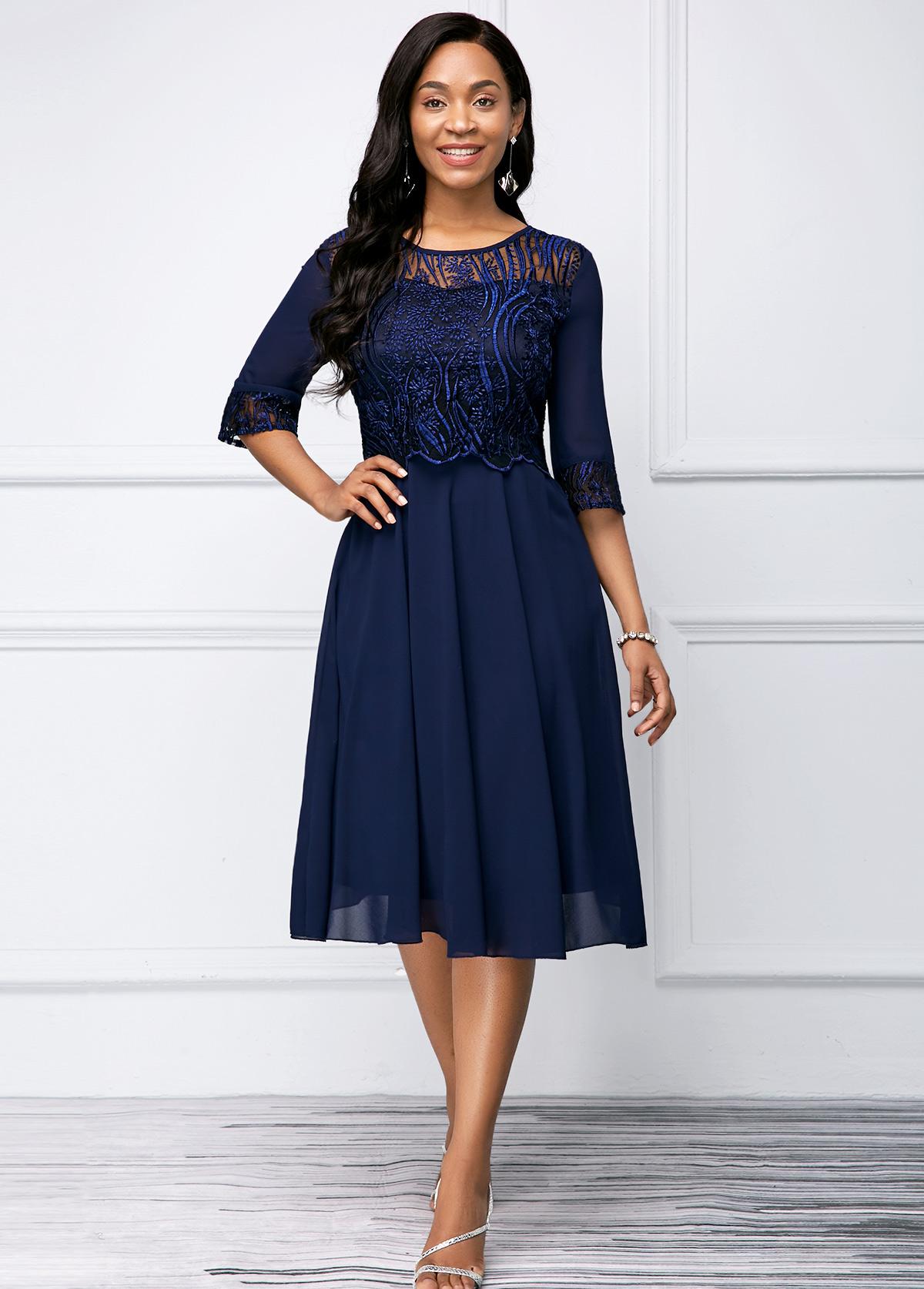 ROTITA Round Neck Navy Blue Lace Stitching Dress