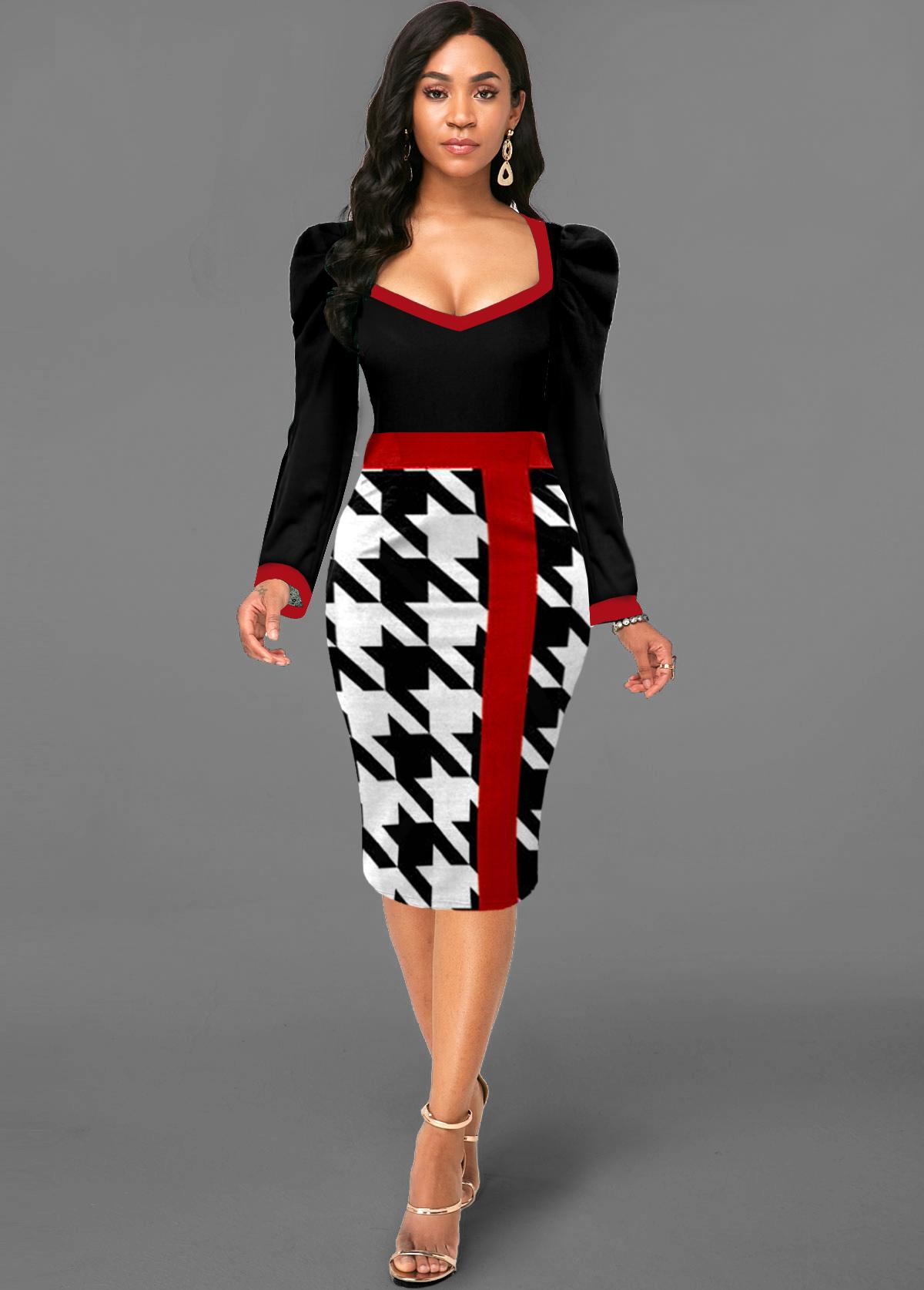ROTITA Houndstooth Print Contrast Puff Sleeve Dress