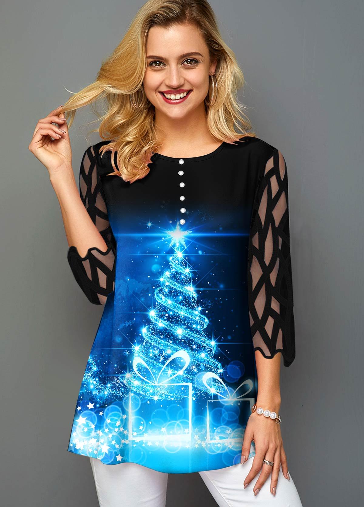 ROTITA Christmas Tree Print Mesh Panel T Shirt