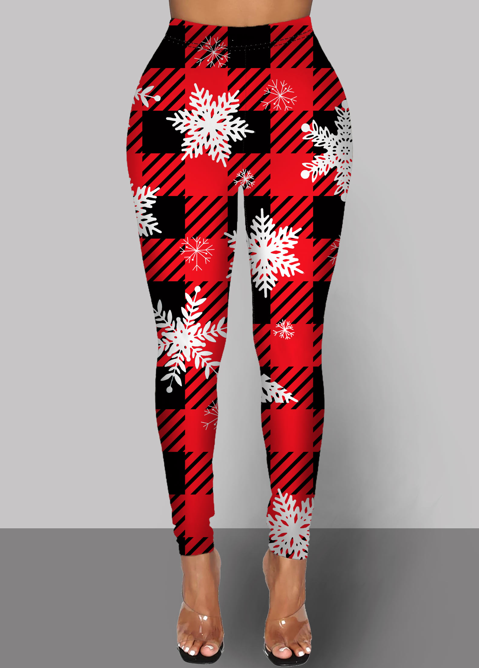 ROTITA High Waist Snowflake Print Red Pants