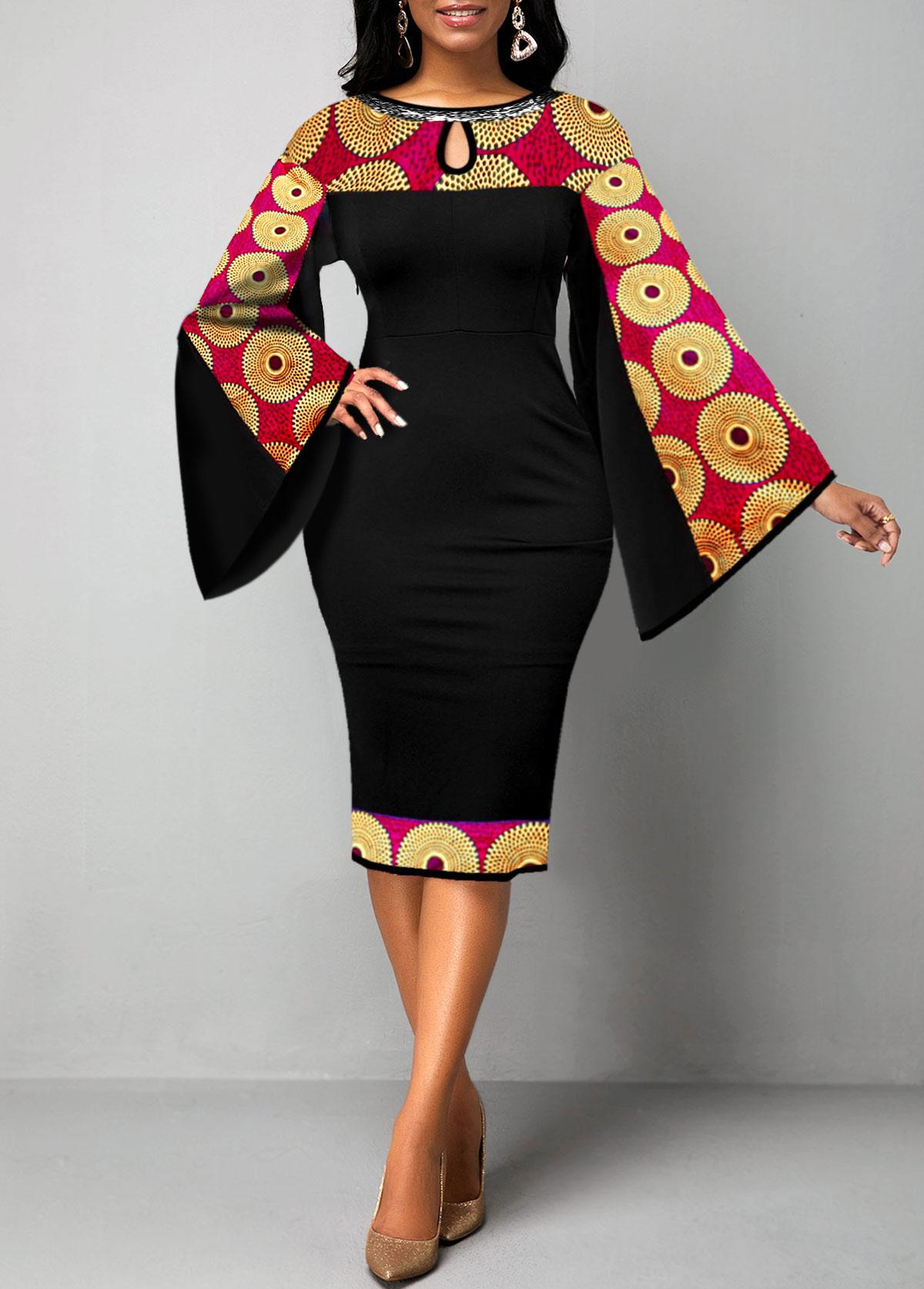ROTITA Flare Sleeve Keyhole Neckline Tribal Print Dress