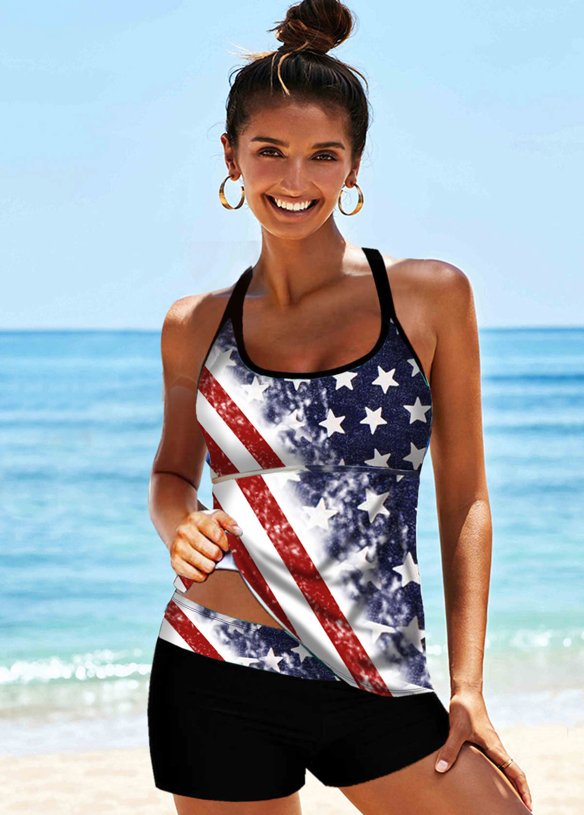 ROTITA American Flag Print Multi Color Cross Strap Tankini Set