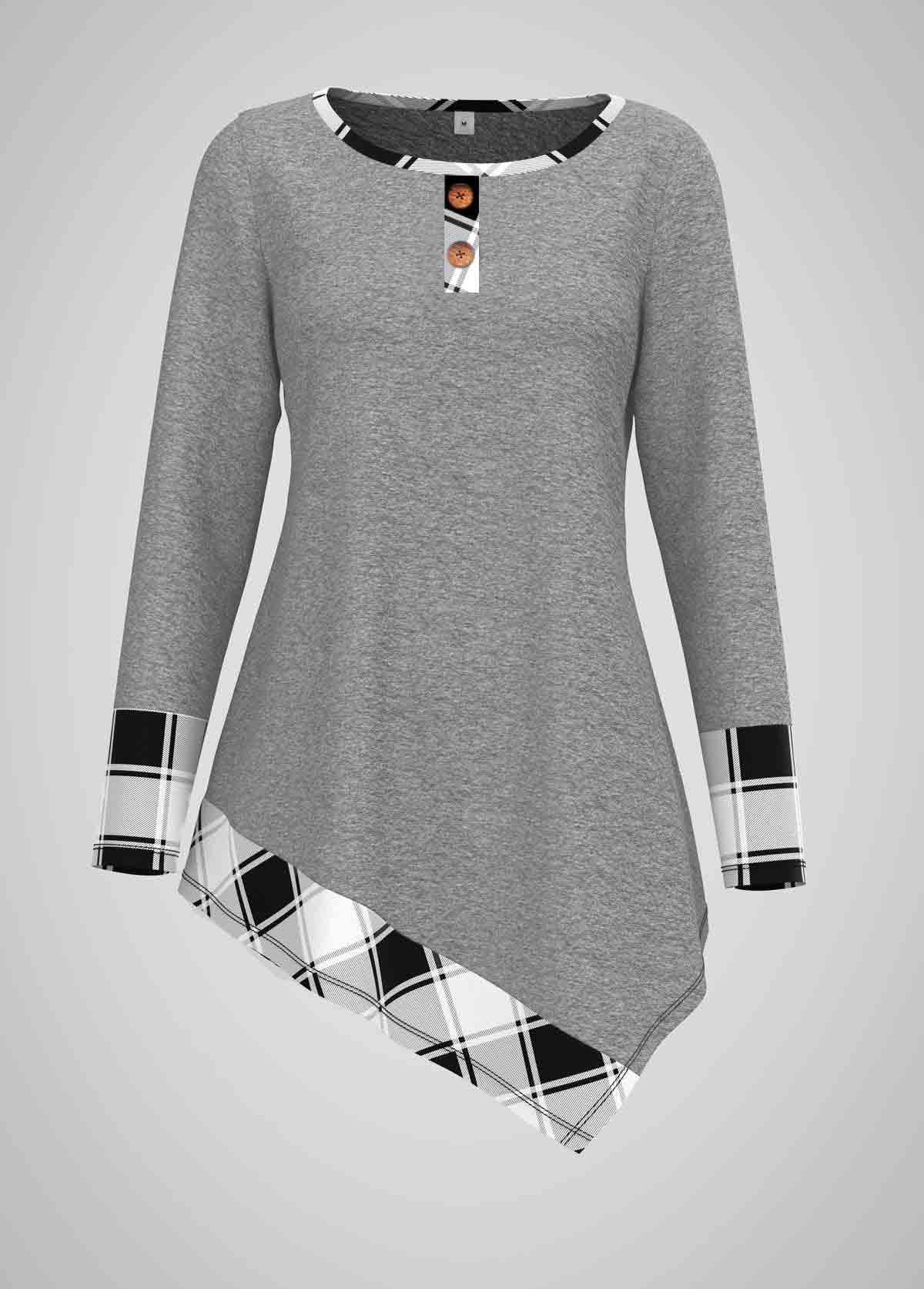 ROTITA Asymmetric Hem Round Neck Plaid Print T Shirt