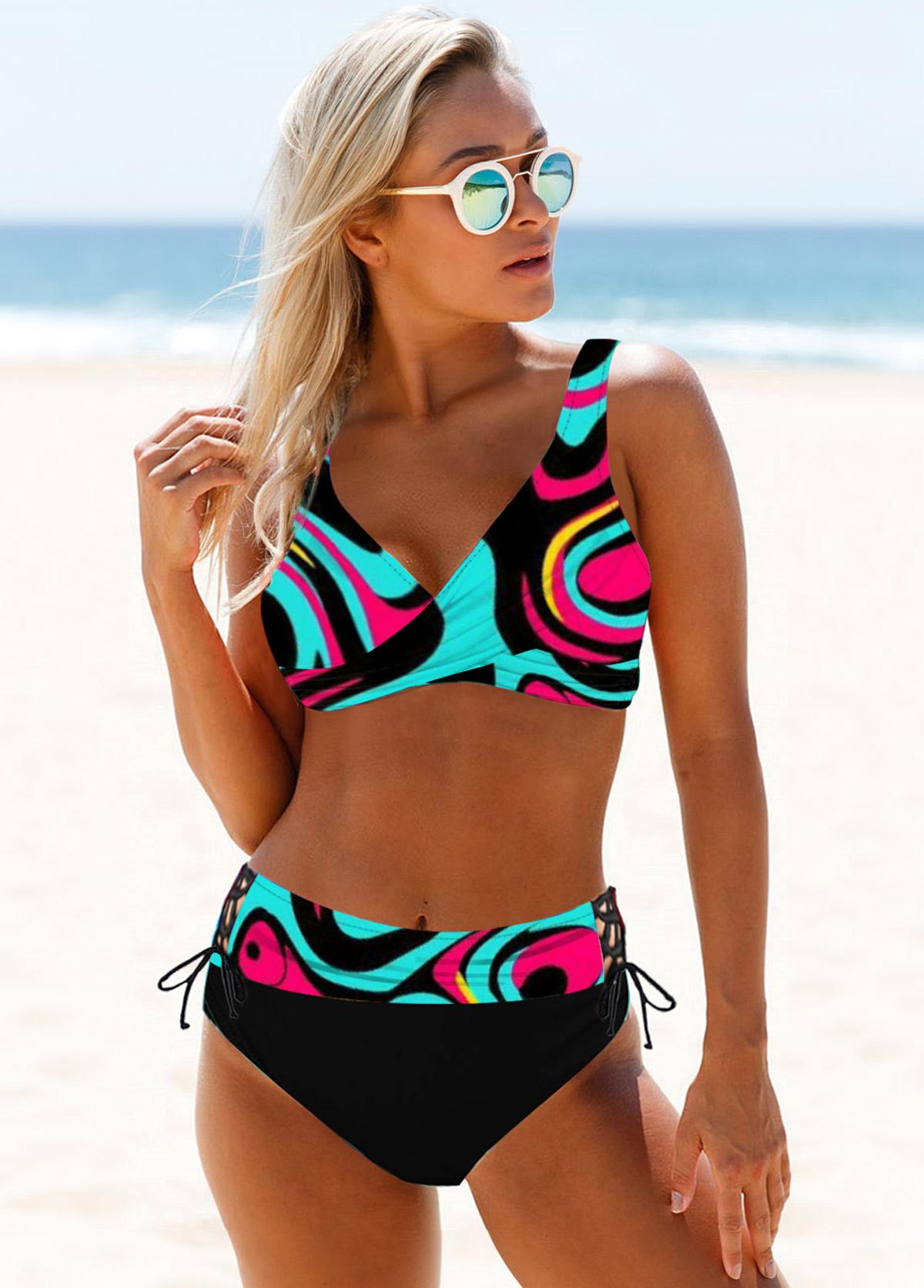 ROTITA Colorful Lace Up Abstract Print Bikini Set
