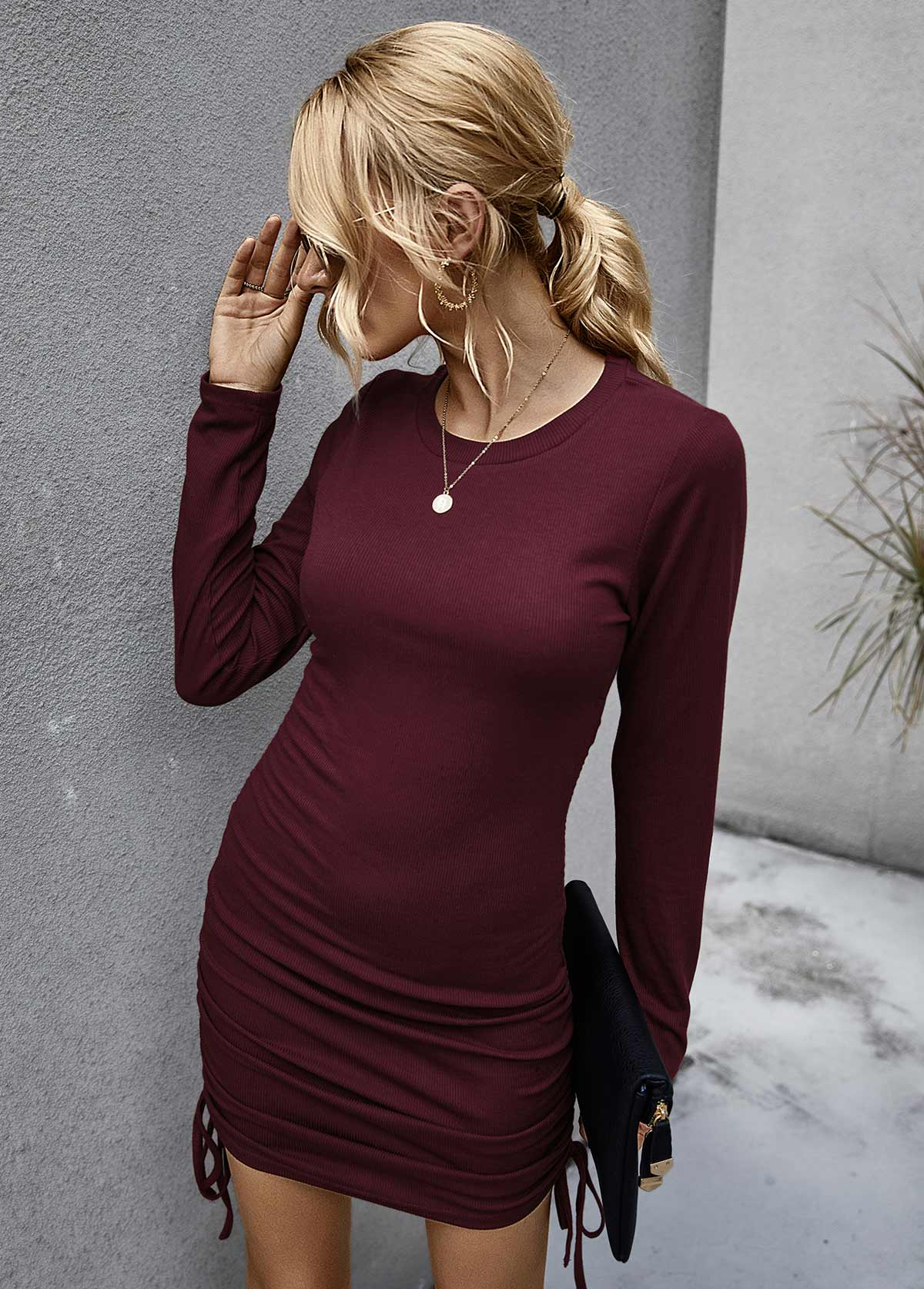 Long Sleeve Round Neck Drawstring Detail Dress