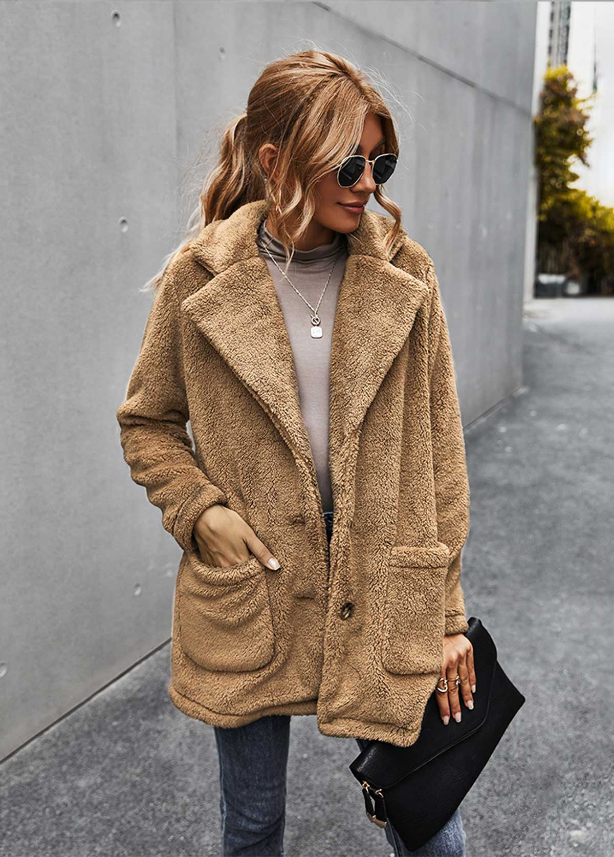 Button Up Turndown Collar Pocket Fluffy Coat