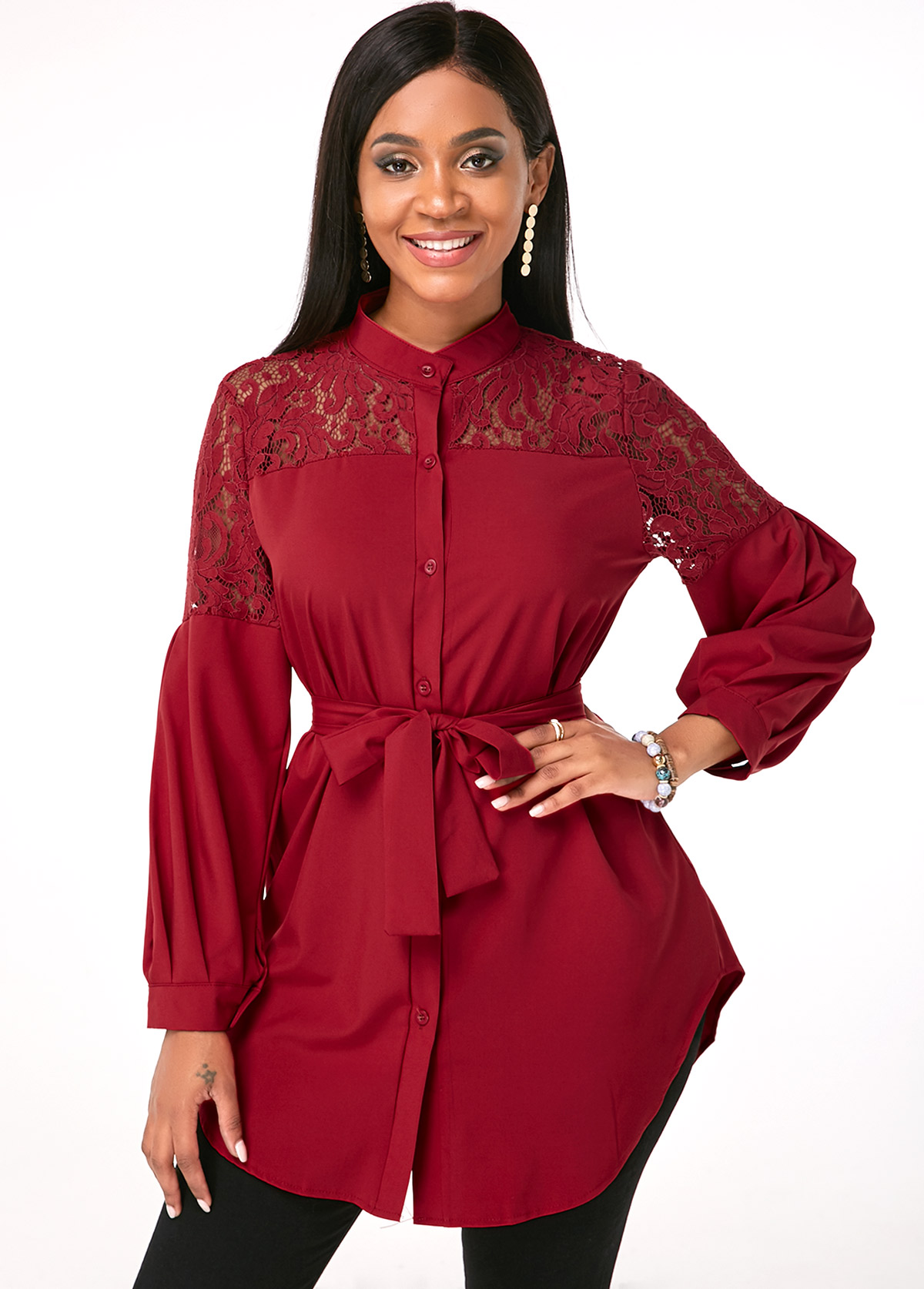 Long Sleeve Lace Up Shirt Dress