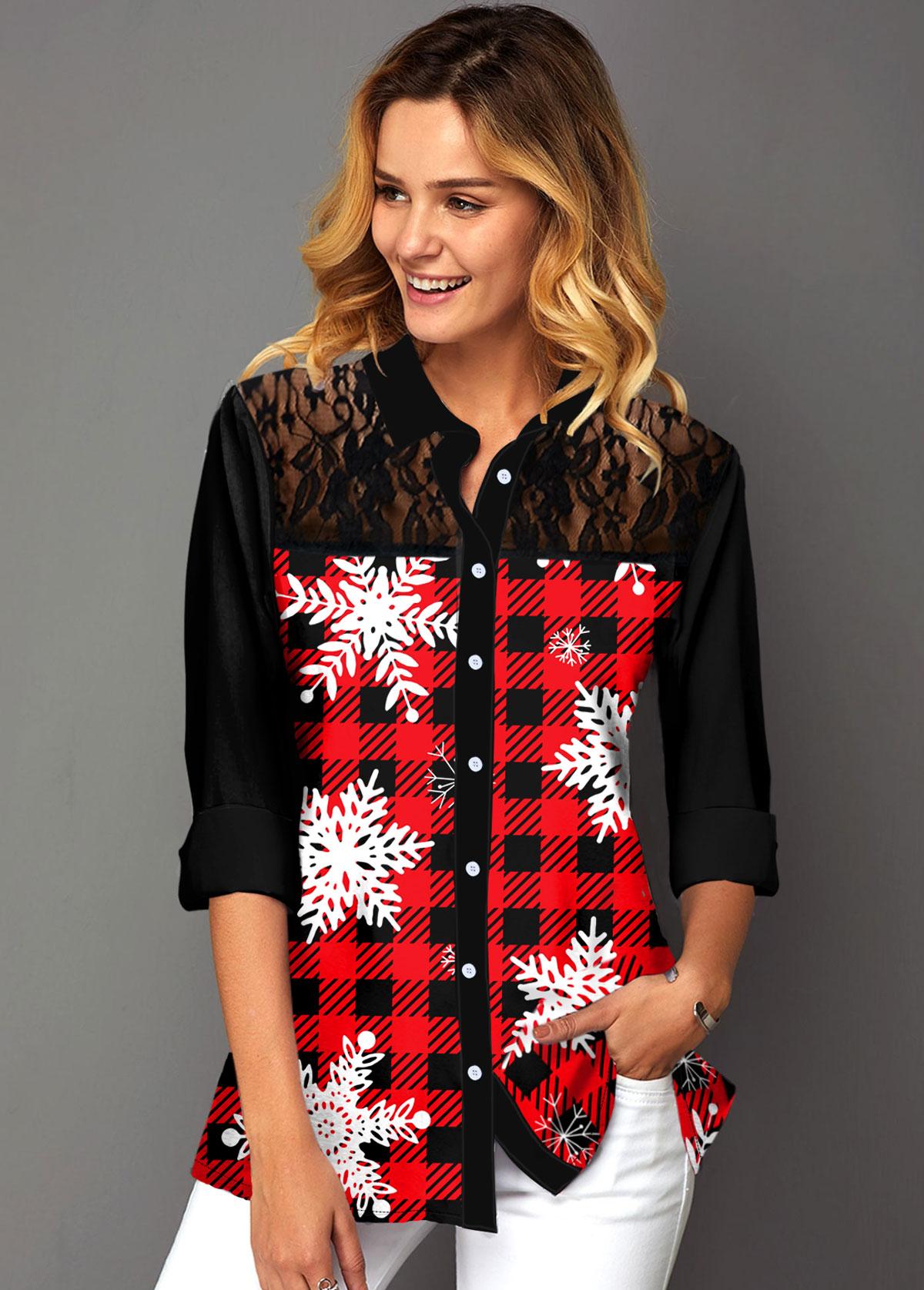 ROTITA Lace Panel Plaid and Snowflake Print Shirt