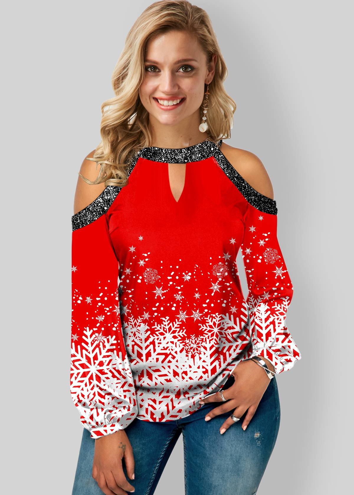 ROTITA Sequin Detail Cold Shoulder Snowflake Print Blouse