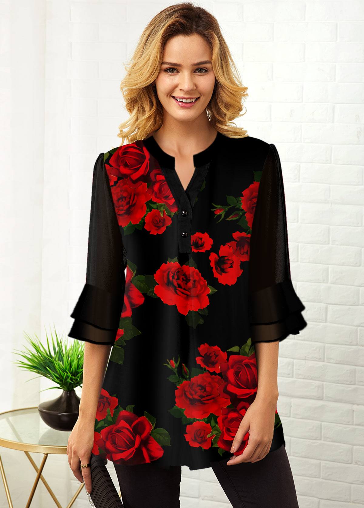 ROTITA Split Neck Floral Print Flare Cuff Blouse