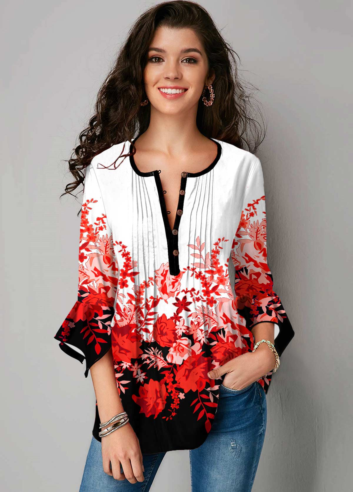 ROTITA Hanky Cuff Crinkle Chest Floral Print Blouse