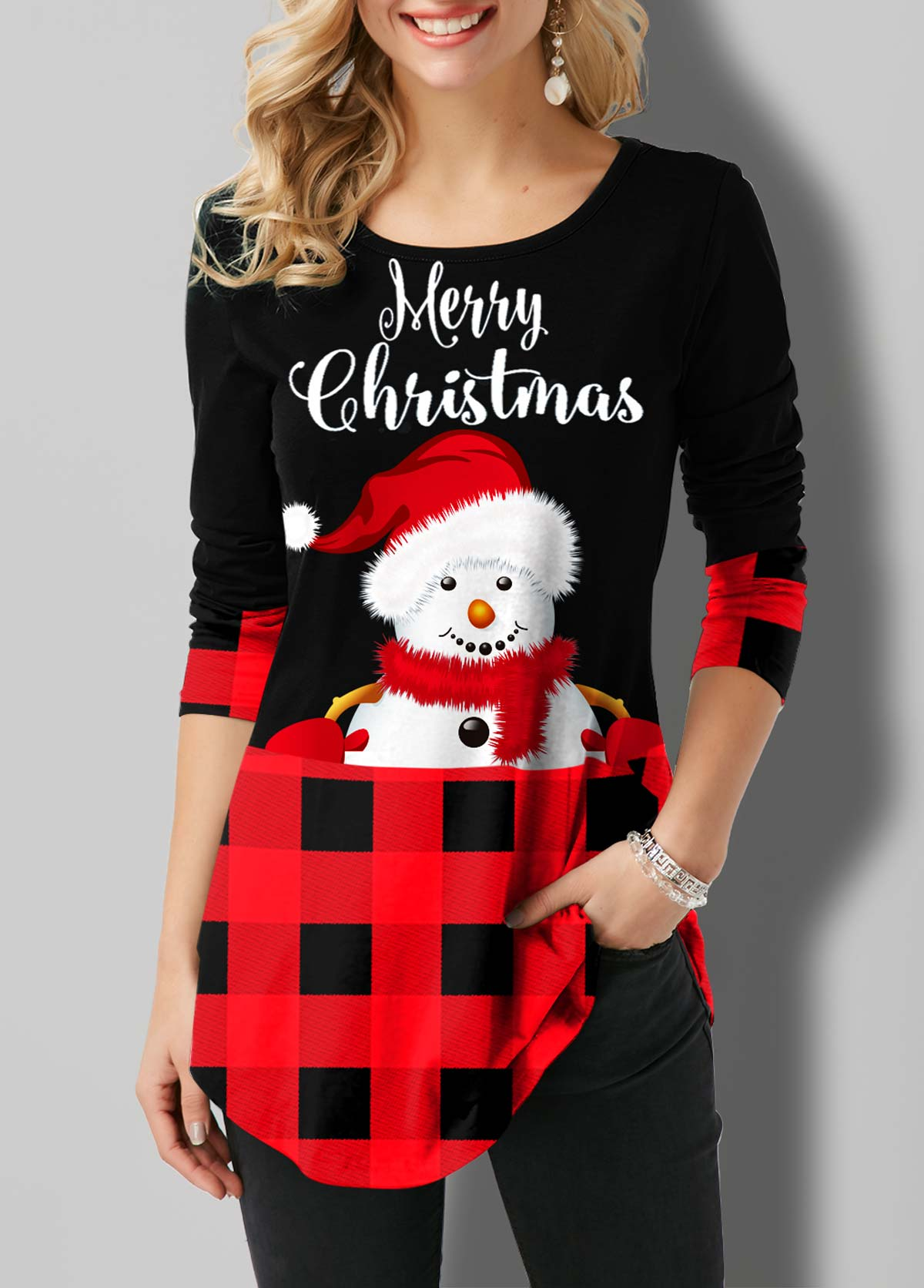 ROTITA Plaid and Snowman Print Round Neck T Shirt