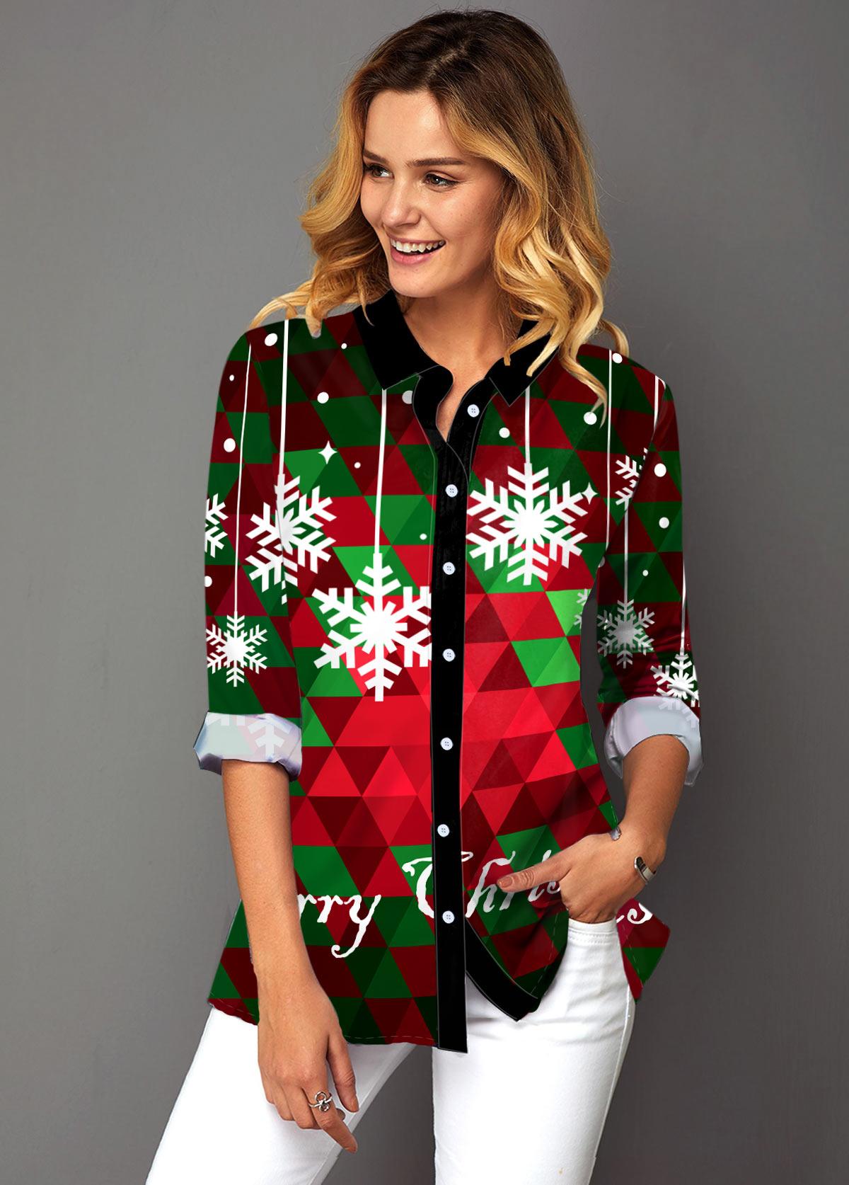 ROTITA  Christmas Print Turndown Collar Button Up Shirt