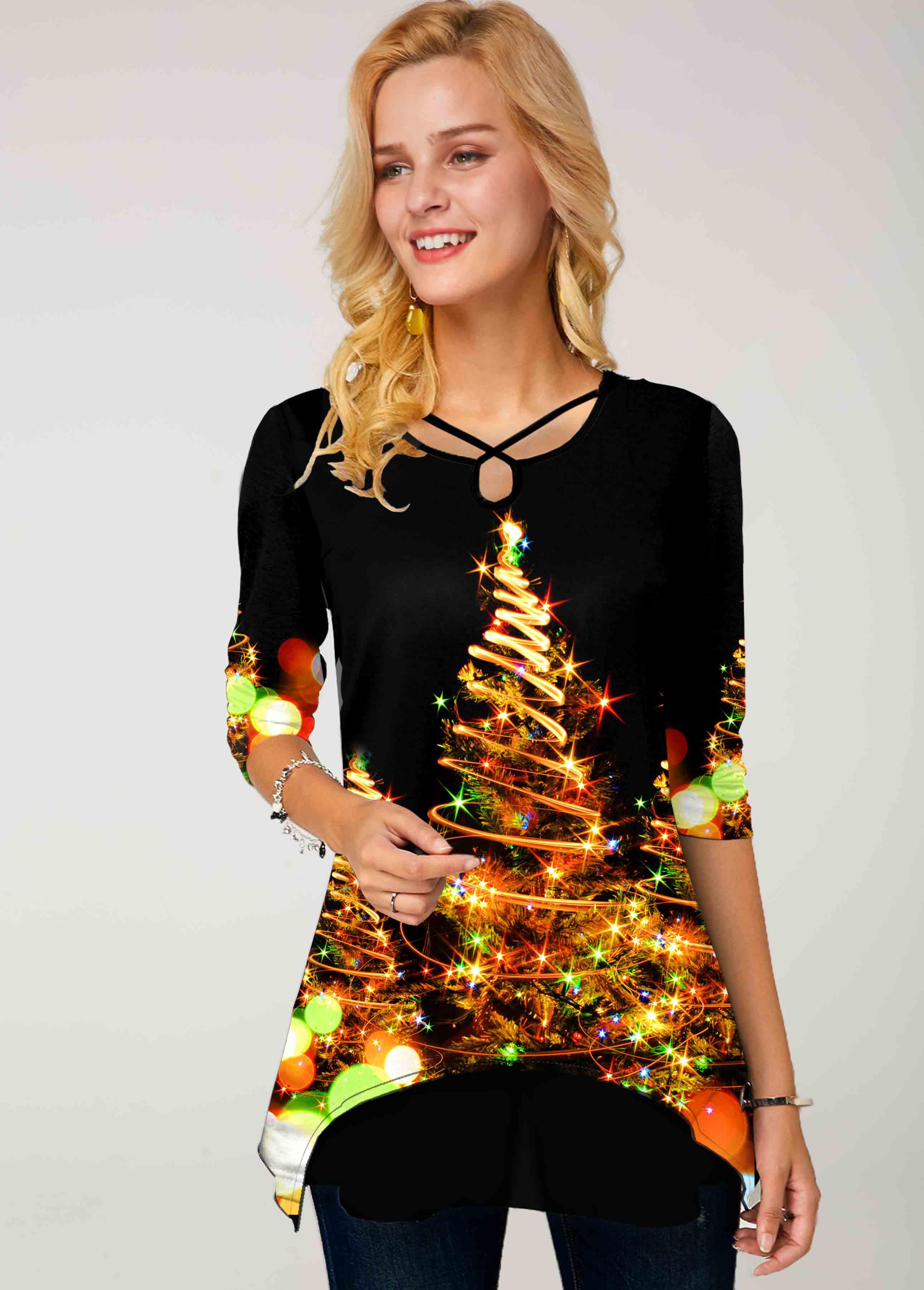 ROTITA Christmas Tree Print Cross Strap T Shirt