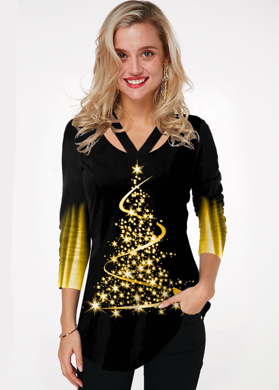 ROTITA Christmas Tree Print Cutout Neck Ombre T Shirt
