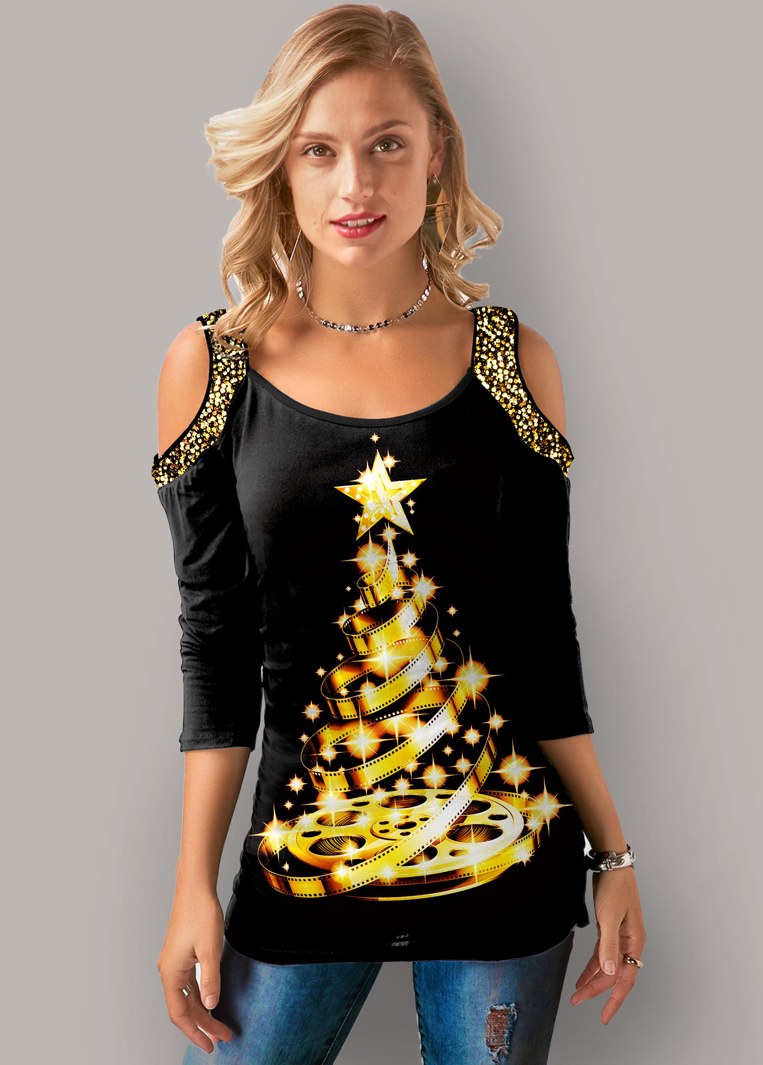 ROTITA Christmas Print Sequin Detail Cold Shoulder T Shirt