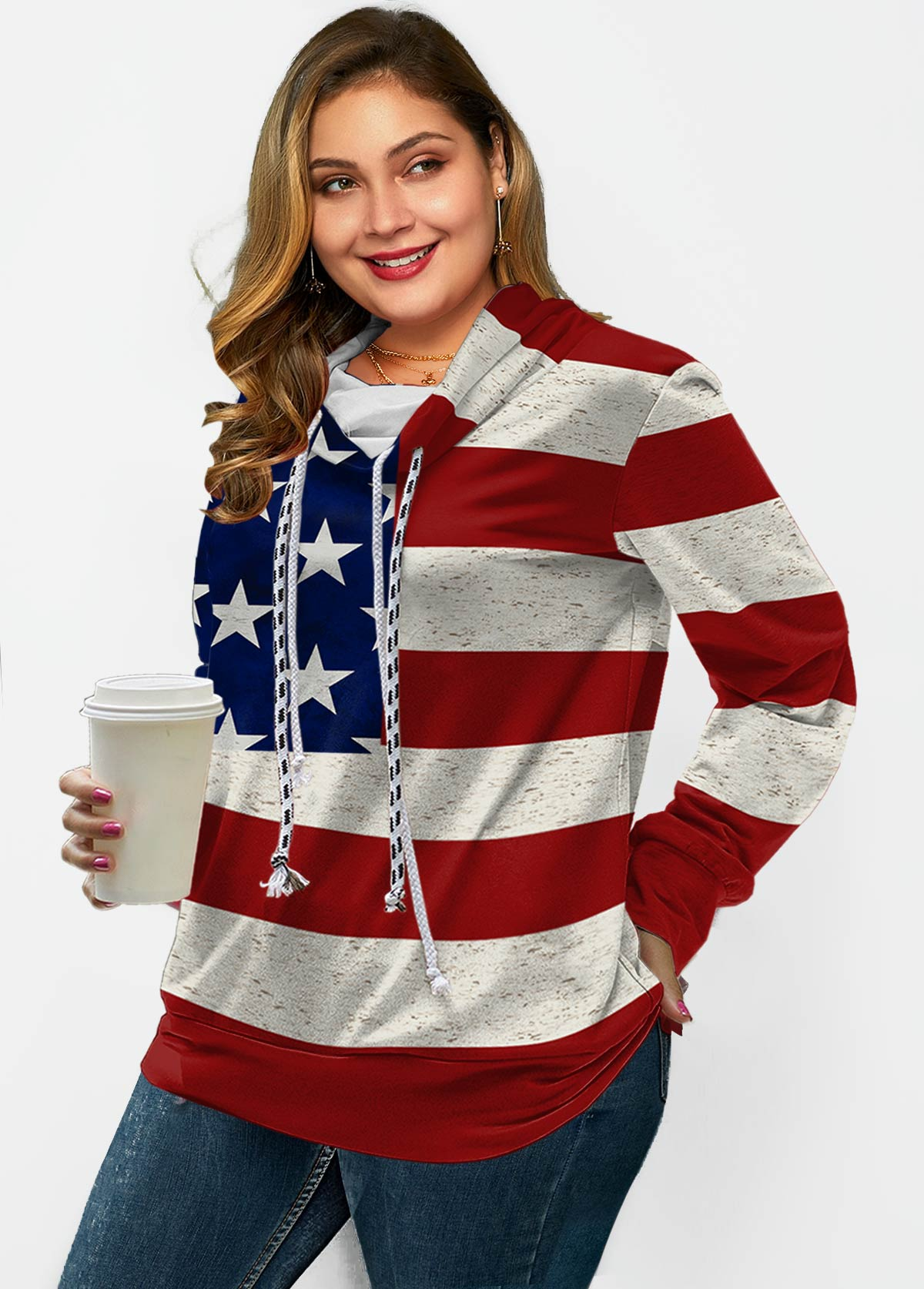 ROTITA Drawstring Long Sleeve American Flag Print Sweatshirt