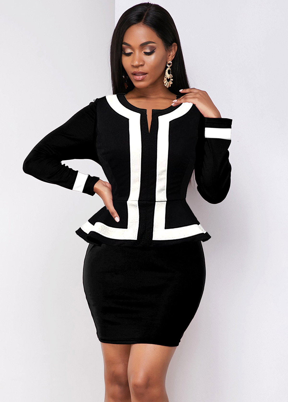 ROTITA Contrast Piping Long Sleeve Peplum Waist Dress