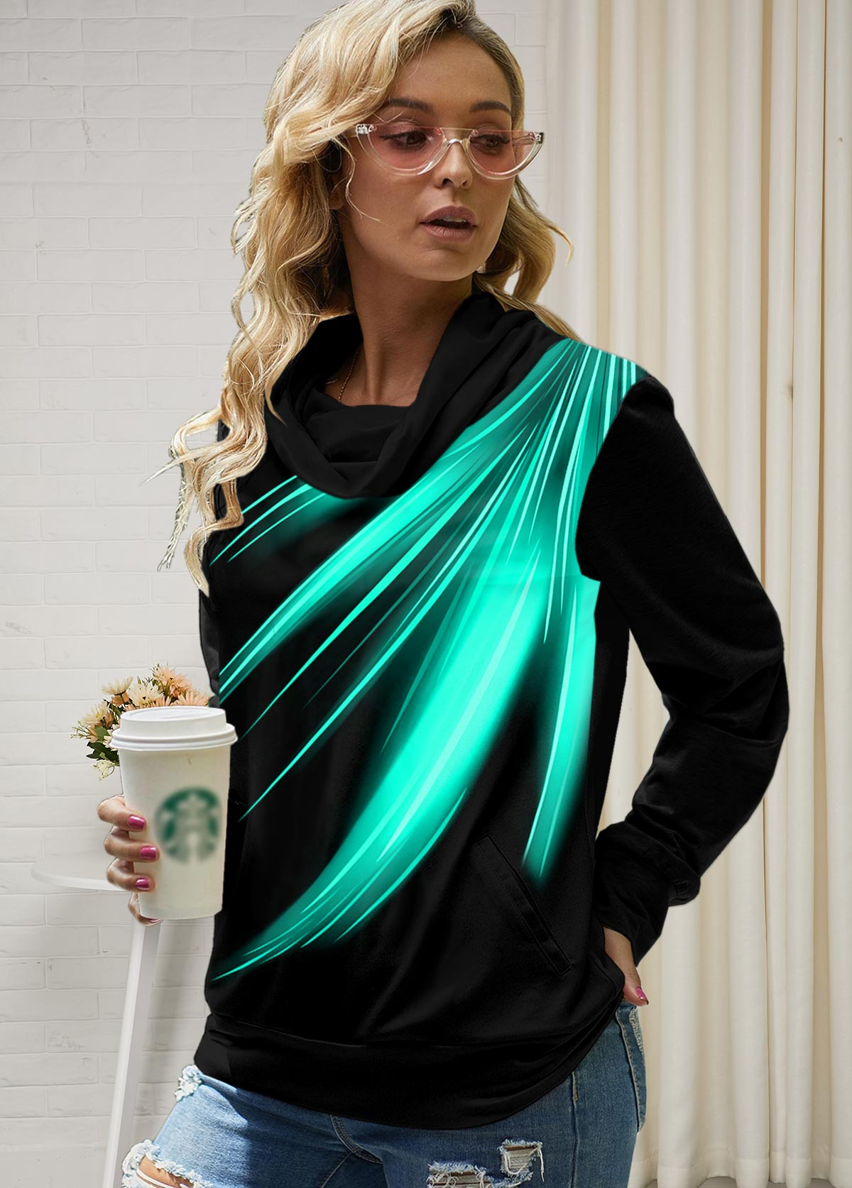 ROTITA Cowl Neck Long Sleeve Printed Tunic Top