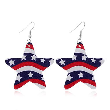 American Flag Design Color Block Earring Set