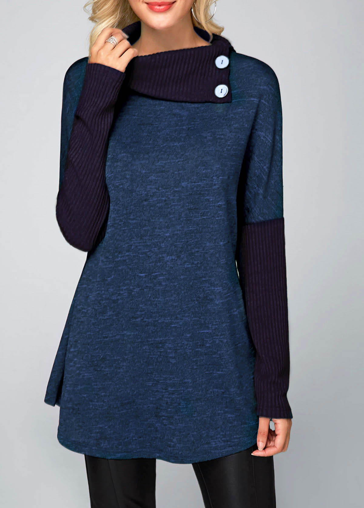 ROTITA Long Sleeve Button Detail Royal Blue Tunic Top