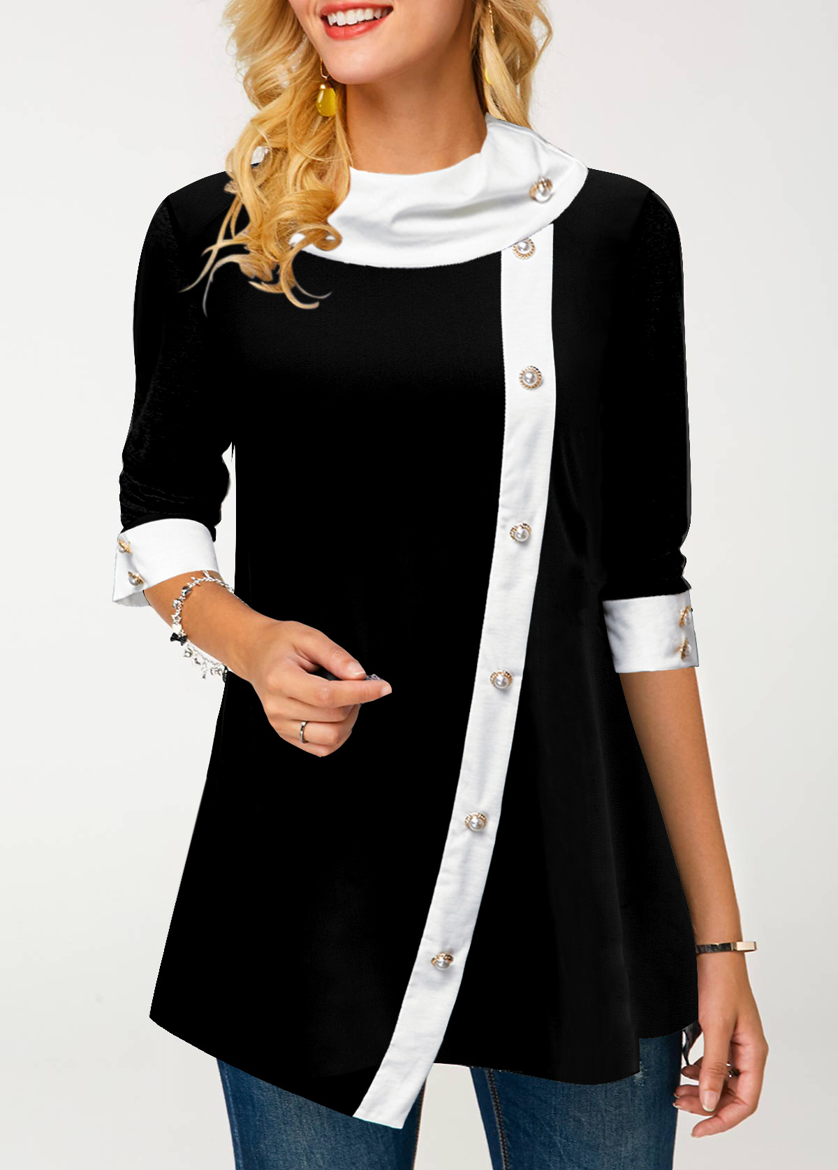 ROTITA Contrast Panel Eyelet Detail Asymmetric Hem Tunic Top
