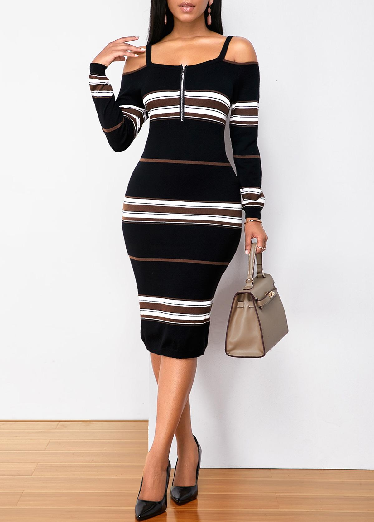 ROTITA Strappy Cold Shoulder Quarter Zip Striped Sweater Dress