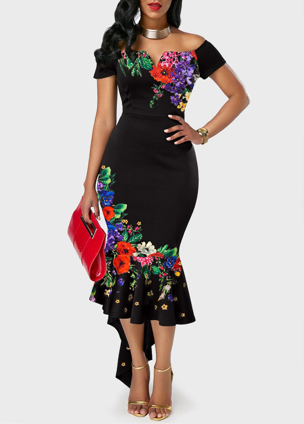 ROTITA Off the Shoulder Floral Print Mermaid Dress