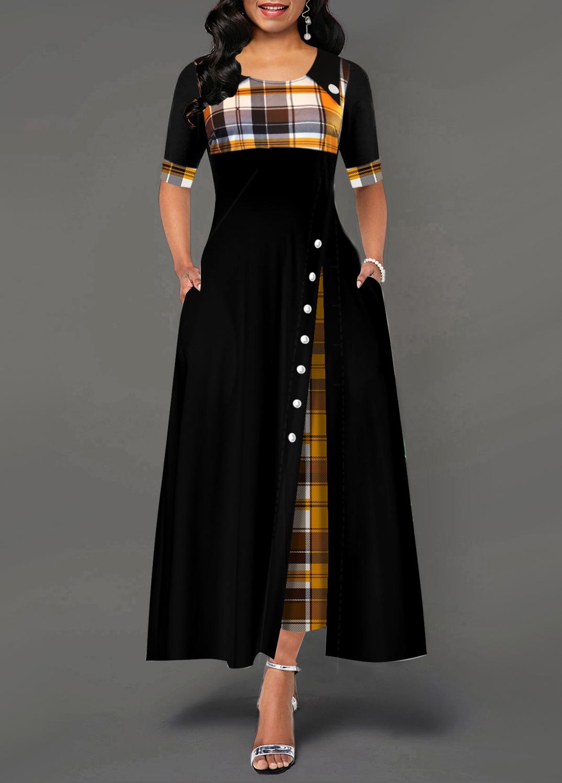 ROTITA Inclined Button Plaid Print Pocket Dress
