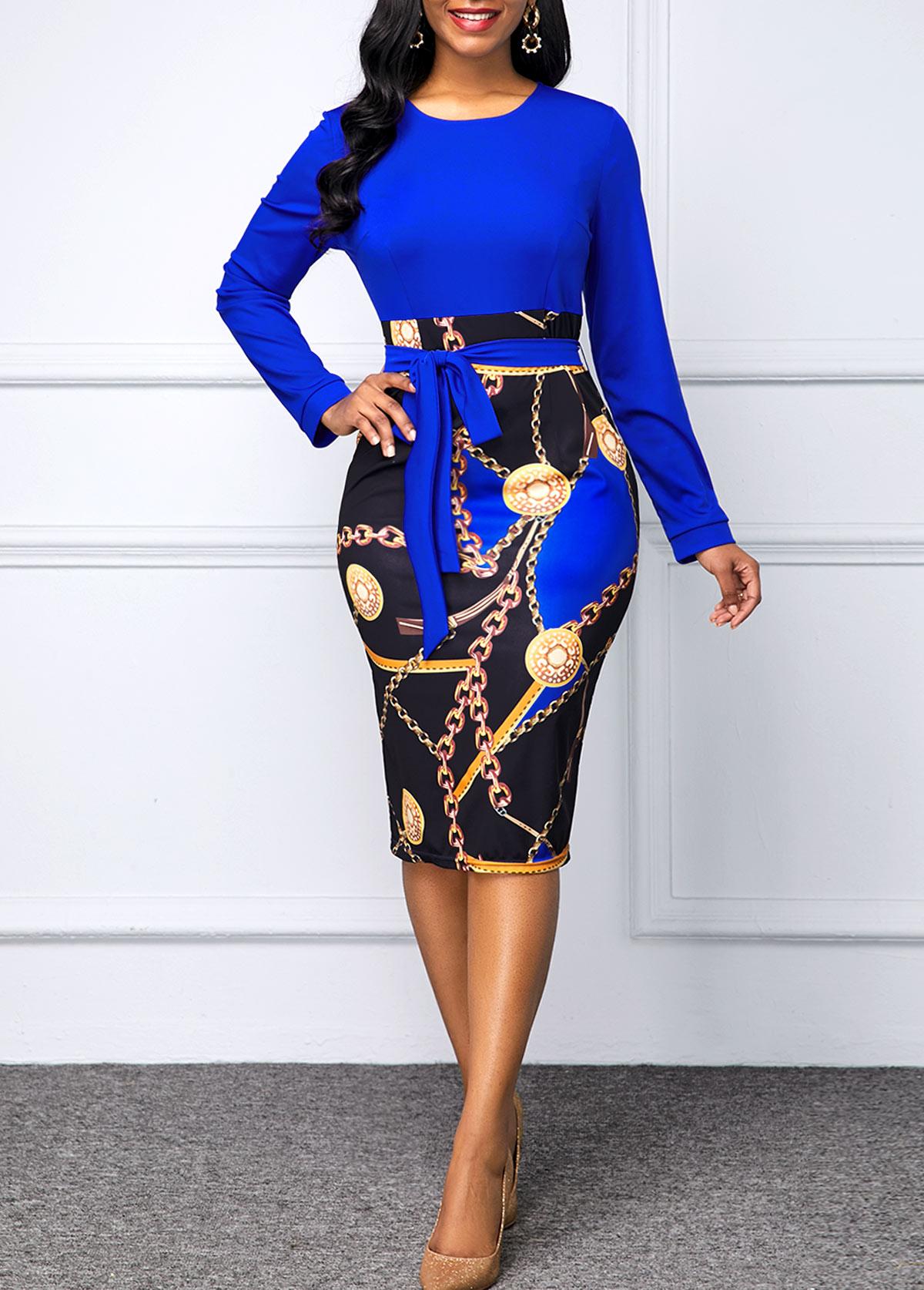 ROTITA Round Neck Chain Print Belted Dress