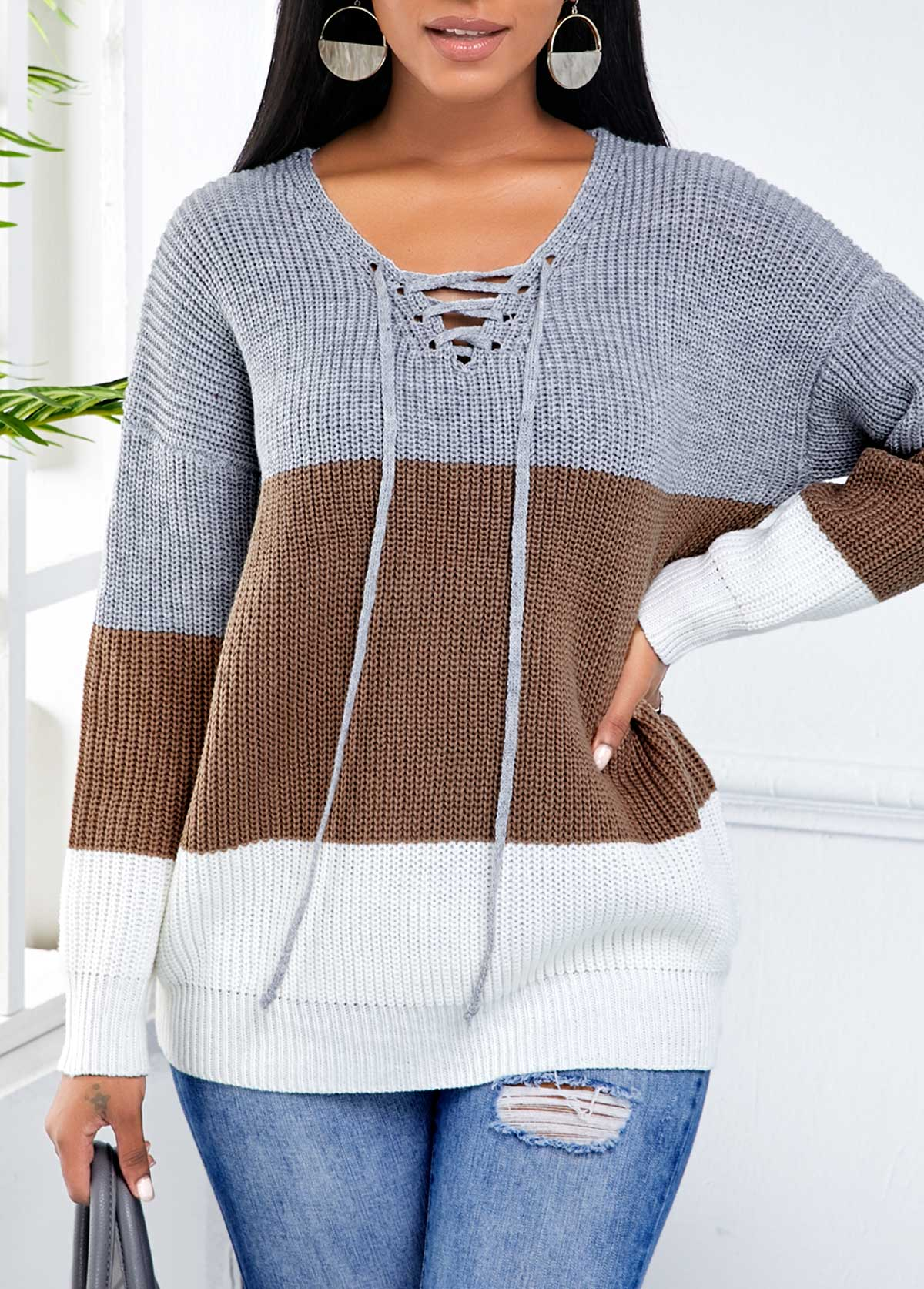 ROTITA  Contrast Lace Up Long Sleeve Sweater