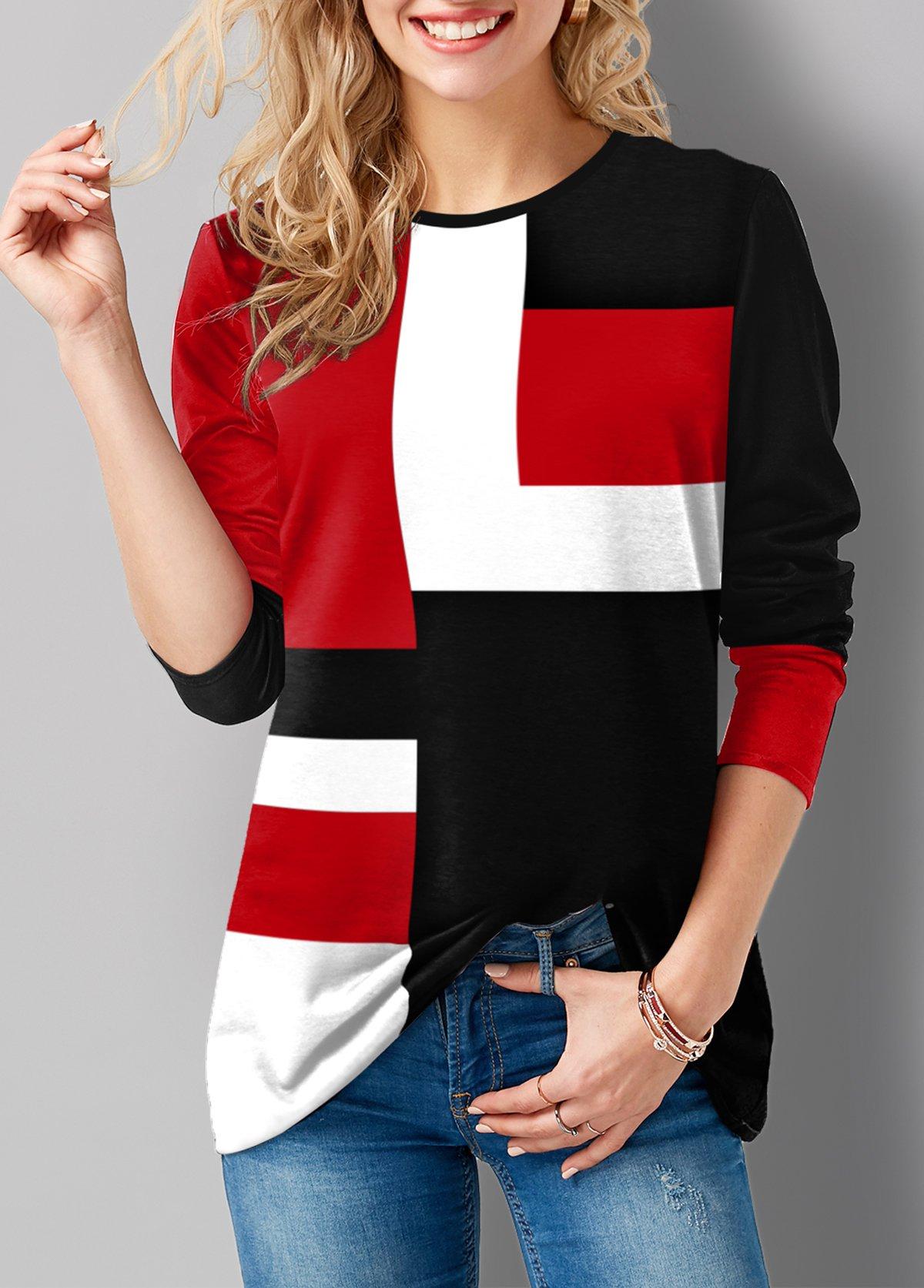 ROTITA Round Neck Long Sleeve Geometric Print T Shirt