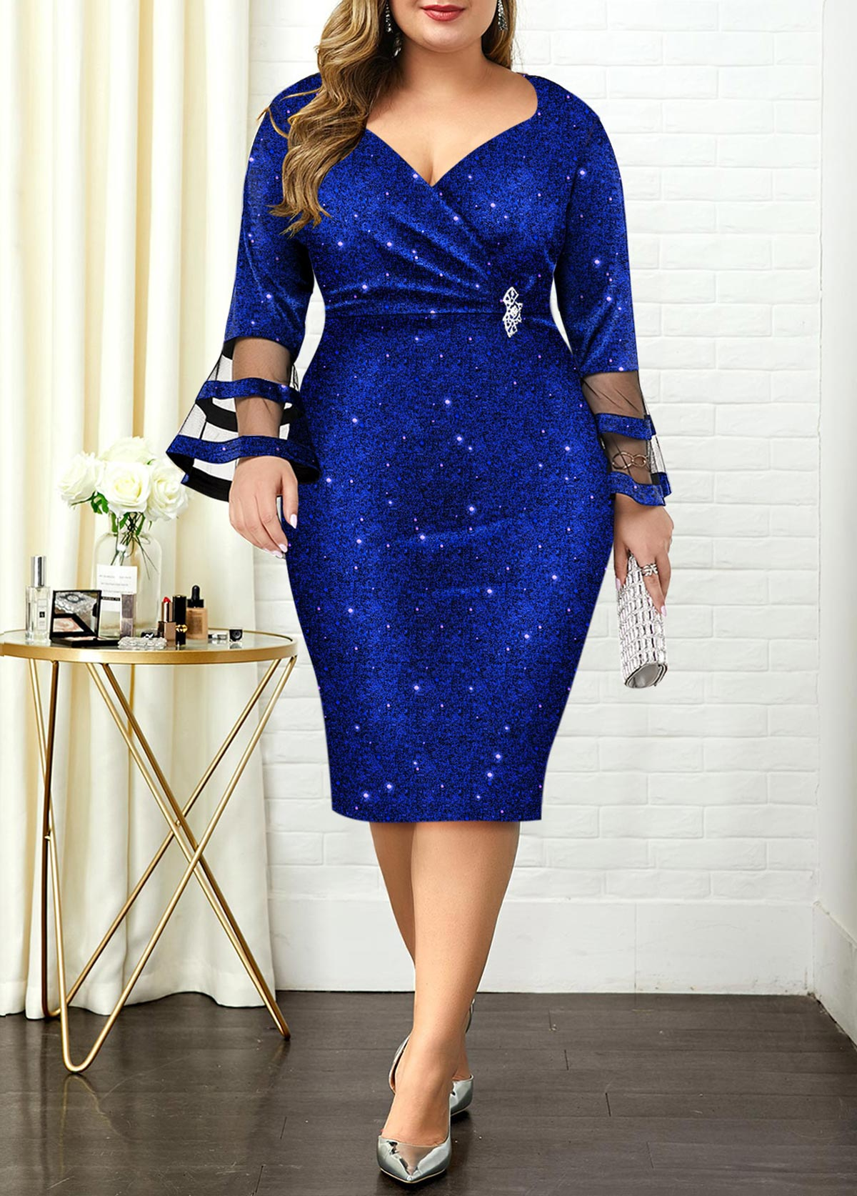 ROTITA Plus Size Hot Stamping Flare Sleeve Dress
