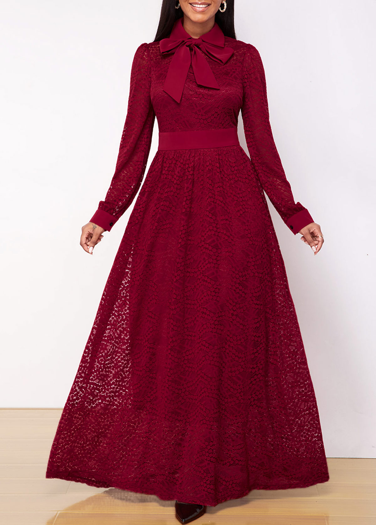 ROTITA Bowknot Neck Long Sleeve Lace Dress