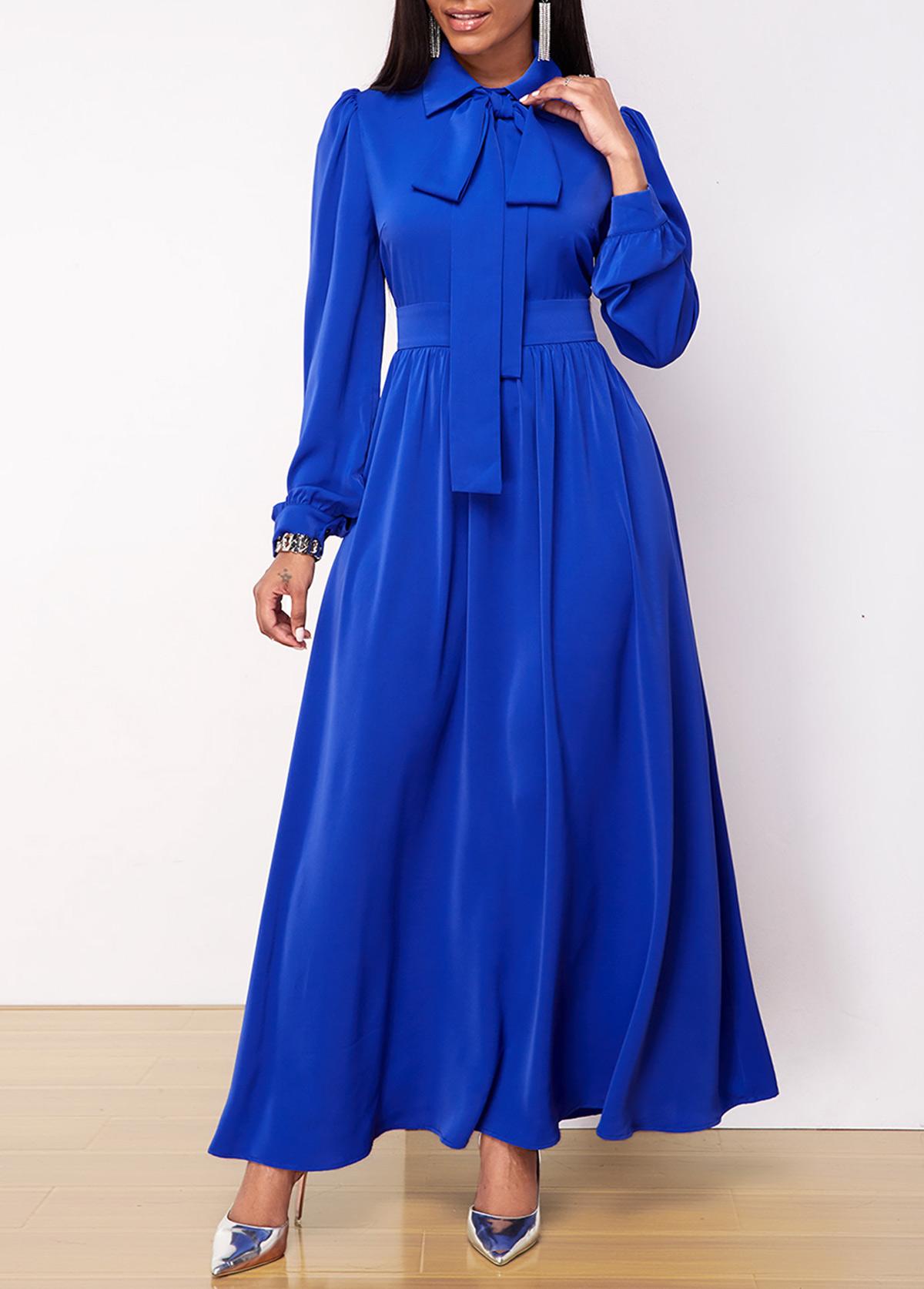 ROTITA Bow Collar Lantern Sleeve Maxi Dress
