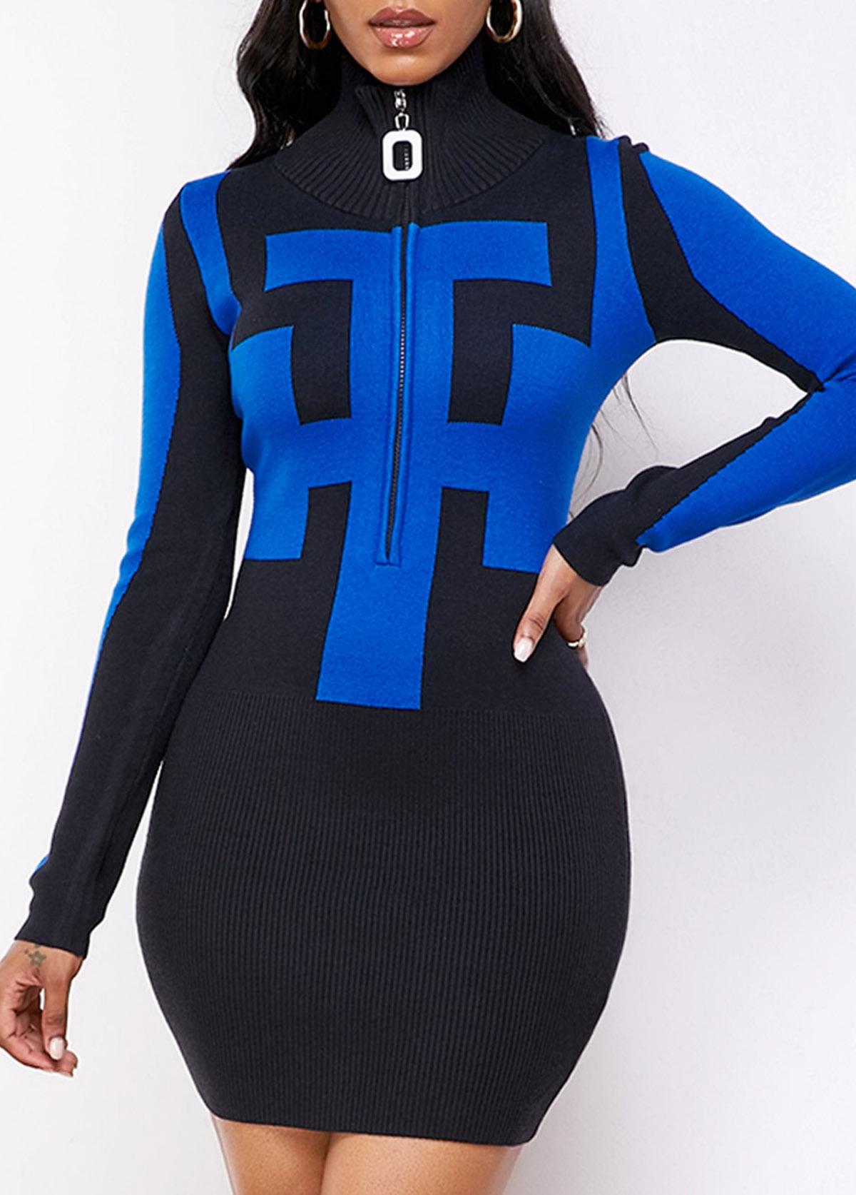 ROTITA Quarter Zip Geometric Pattern Long Sleeve Sweater Dress