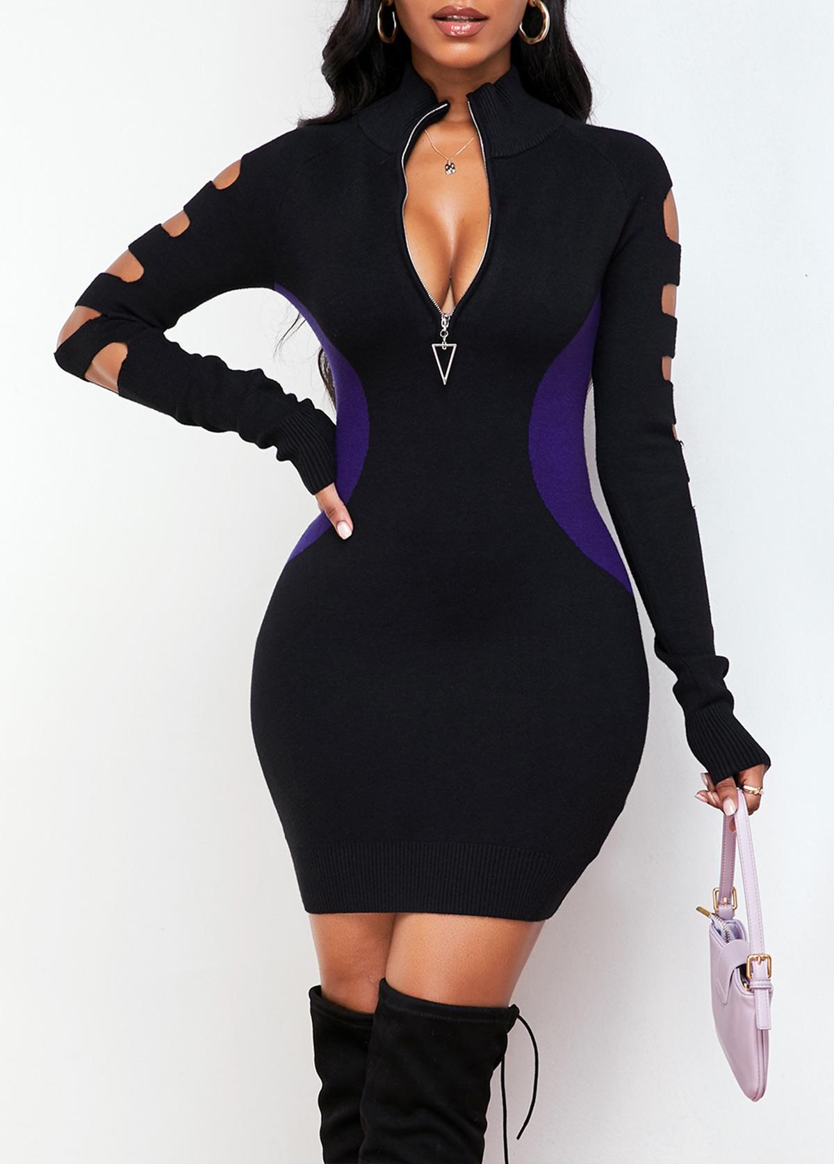 ROTITA Quarter Zip Long Sleeve Contrast Sweater Dress