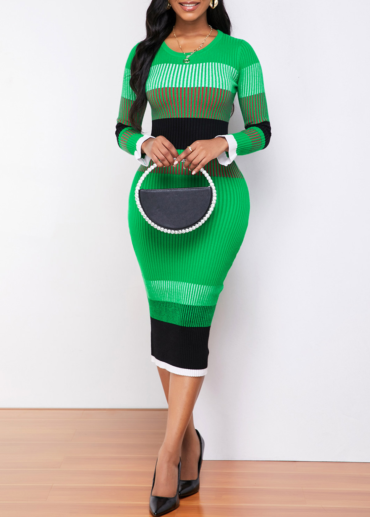 ROTITA Round Neck Color Striped Long Sleeve Sweater Dress
