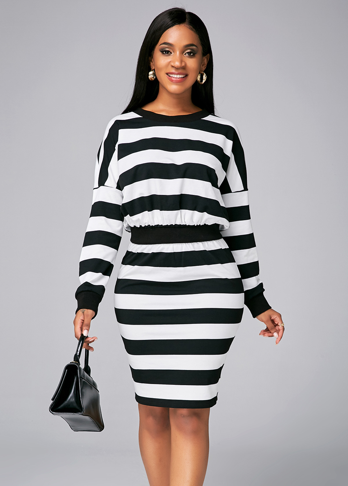 ROTITA Batwing Sleeve Striped Round Neck Dress