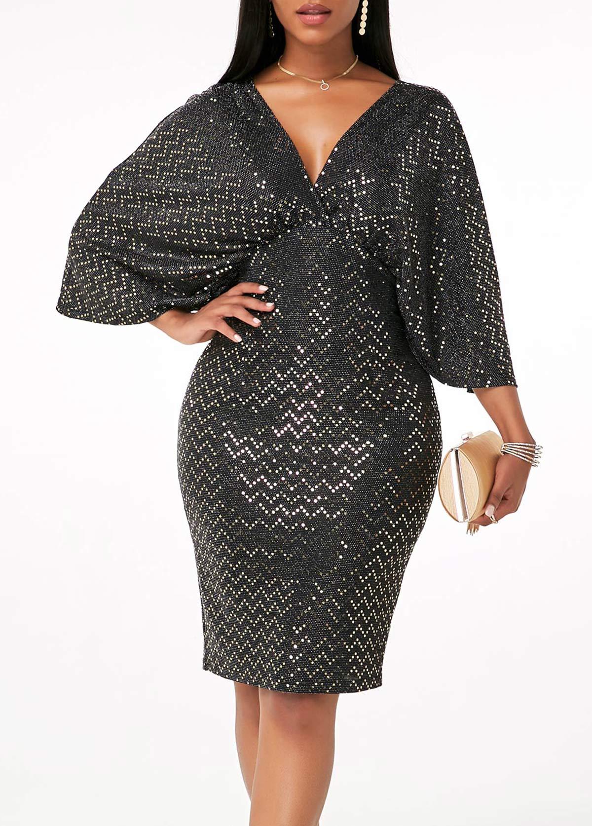 ROTITA Three Quarter Sleeve V Back Bodycon Dress
