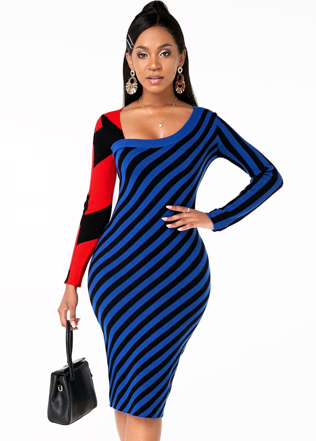 ROTITA Striped Long Sleeve Asymmetric Neck Sweater Dress