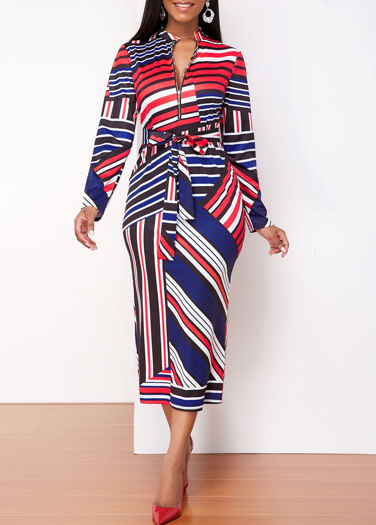 ROTITA Quarter Zip Striped Long Sleeve Dress